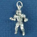 Football Player with Ball 3D Sterling Silver Charm Pendant