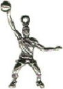 Basketball Player Boy Sports 3D Sterling Silver Charm Pendant