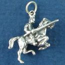 Knight on Horseback Charging with Lance in Hand 3D Sterling Silver Charm Pendant