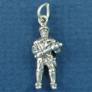 Policeman Police Occupation 3D Sterling Silver Charm Pendant