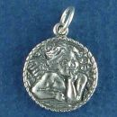 Angel Charm Sterling Silver Pendant in Raphael Pose on Disk