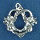 Open Heart Angel Charm Sterling Silver Pendant with Trumpets