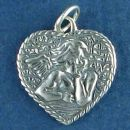 Angel Charm Sterling Silver Pendant in Raphael Pose on Heart