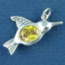 Bird, Hummingbird with Yellow CZ Sterling Silver Charm Pendant