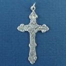 Cross with Ornate Design Medium Sterling Silver Charm Pendant