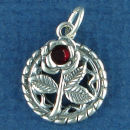 Flower Rose on Round Rope Disk with Red Crystal Sterling Silver Charm Pendant