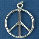 Peace Sign Symbol Medium Thin Round Wire Design Sterling Silver Charm Pendant