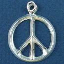 Peace Sign Symbol Medium Thick Triangle Wire Design Sterling Silver Charm Pendant