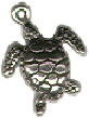 Sea Turtle Charm Small 3D Sterling Silver Pendant