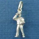 Postman and Mailman 3D Occupation Sterling Silver Charm Pendant