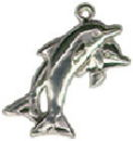 Dolphins Jumping Together Sterling Silver Charm Pendant