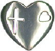 Heart with Cutout Cross and Heart Sterling Silver Charm Pendant