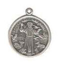 Religious Christian Saint Francis Of Assisi Round Medal Sterling Silver Charm