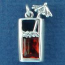 Tropical Mixed Drink in Tall Glass with Unbrela and Red CZ Accent Sterling Silver Charm Pendant