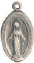 Religious Christian Miraculous Medal with Virgin Mary Sterling Silver Charm