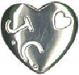 Religious Christian Heart with JC for Jesus Christ Sterling Silver Charm Pendant