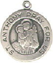 Religious Christian Saint Anthony Round Medal Sterling Silver Charm Pendant