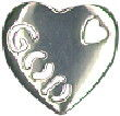 Religious Christian and Jewish Heart with Word God Sterling Silver Charm Pendant