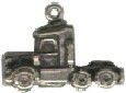 Semi Truck Tractor 3D Sterling Silver Charm Pendant