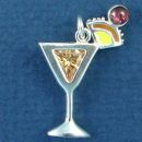 Mai Tai Mixed Drink with Enamel Accents and Peach CZ and Red Cherry Sterling Silver Charm Pendant