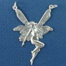 Fairy in Flight Large with Double Bale Sterling Silver Pendant