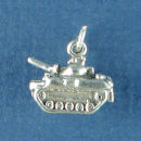 Military Army Tank 3D Sterling Silver Charm Pendant