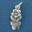 Flower Pot with Daisy Sterling Silver Charm Pendant