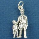 Police Officer Friendly with Child 3D Sterling Silver Charm Pendant