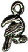 Bird: Toucan on Perch Small 3D Sterling Silver Charm Pendant