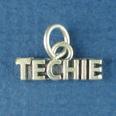 Techie Word Charm Sterling Silver