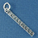 Hollywood Word Charm and Message Phrase Sterling Silver Charm for Charm Bracelet