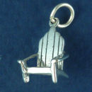 Wooden Porch Chair 3D Sterling Silver Charm Pendant