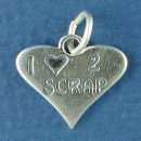 I Love 2 Scrap Word Phrase on Heart Sterling Silver Charm Pendant