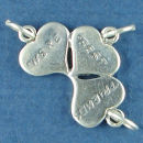 3 Hearts with Were Best Friends Word Phrase Sterling Silver Charm Pendant
