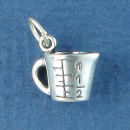 Kitchen: Measuring Cup for Cooking 3D Sterling Silver Charm Pendant