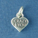 Heart Crazy 4 You Word Phrase Sterling Silver Charm Message Pendant