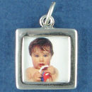Picture Photo Charm Frame Double Sided Plain Square 3D Sterling Silver Pendant