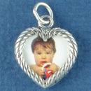 Picture Photo Charm Frame Double Sided Heart Rope 3D Sterling Silver Pendant