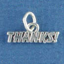Thanks Word Charm and Message Phrase Sterling Silver Charm Pendant