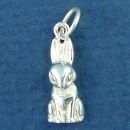 Rabbit Sitting Sterling Silver Bunny Charm Pendant