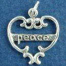 Heart with Word Phrase Peace Sterling Silver Charm Pendant