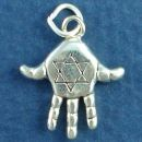 Religious Jewish Hamsa Hand Jewlery with Star of David 3D Sterling Silver Charm Pendant