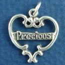 Heart with Word Phrase Precious Sterling Silver Charm Pendant