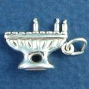 Jewish Menorah Candles 3D Sterling Silver Charm Pendant