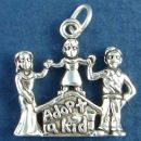 Adoption Family with Word Phase Adopt a Kid Sterling Silver Charm Pendant