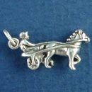 Harness Racer with Horse and Rider Sterling Silver Charm Pendant