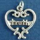 Heart with Word Phrase Truth Sterling Silver Charm Pendant