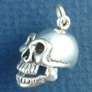 Human Skull with Moveable Jaw 3D Sterling Silver Charm Pendant