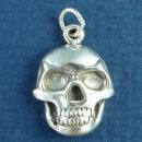 Human Skull Sterling Silver Charm Pendant