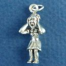 Frustrated Lady 3D Sterling Silver Charm Pendant